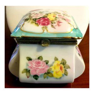 VTG Porcelain Floral Hinged Trinket Box by Lefton